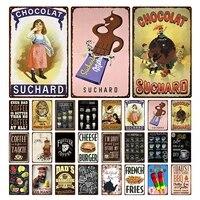 Chocolat metal etain signes Plaque cafe metal Vintage mur barre cuisine maison Art retro artisanat cinema decor 30X20CM