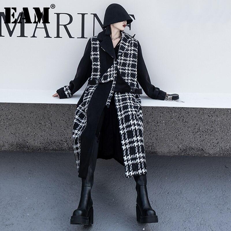 [EAM] свободное черное твидовое клетчатое шерстяное пальто большого размера, парки, Новая женская модная одежда с длинным рукавом, Осень-зима ...