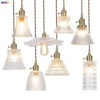 IWHD Nordic Modern Glass Pendant Lamp Bar Cafe Bedroom Restaurant Retro Vintage Hanging Light Hanglamp Pendant Lighting Edison