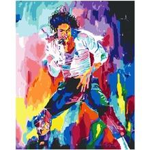 متعدد الألوان مايكل جاكسون يدوية الطلاء عالية الجودة قماش اللوحة الجميلة بواسطة أرقام مفاجأة هدية كبيرة الإنجاز