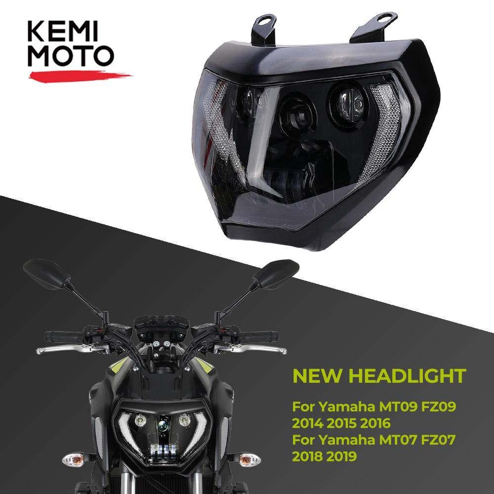 KEMiMOTO لياماها MT07 2017 2018 2019 MT07 MT09 الصمام العلوي مصباح MT09 FZ09 2014 2015 2016 دراجة نارية المصباح DRL 110W