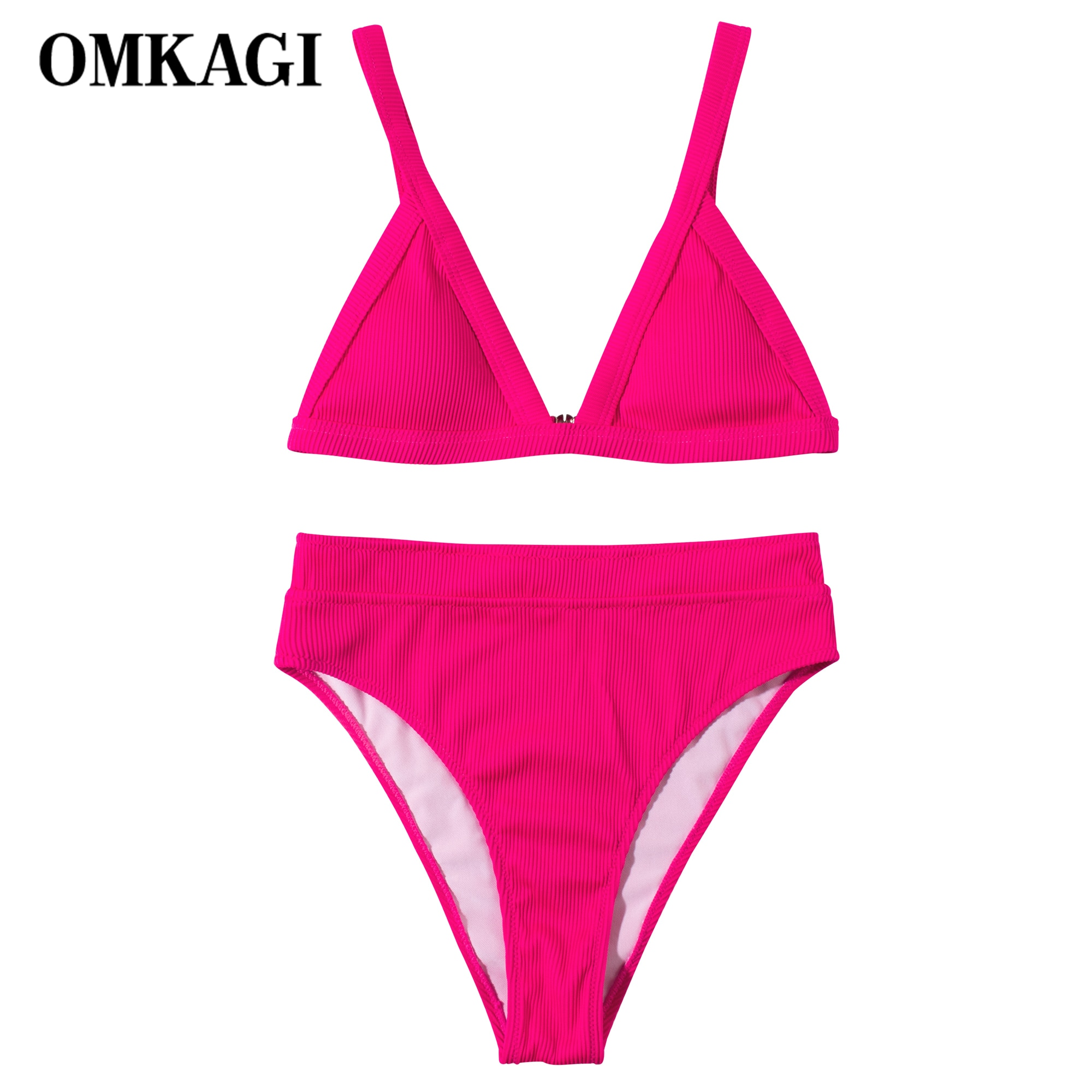 aliexpress.com - OMKAGI Bikini New Solid Swimwear Women Push Up Swimsuit 2021 High Waist Summer Bikini Set Beach Wear Biquini Swimsuit Female