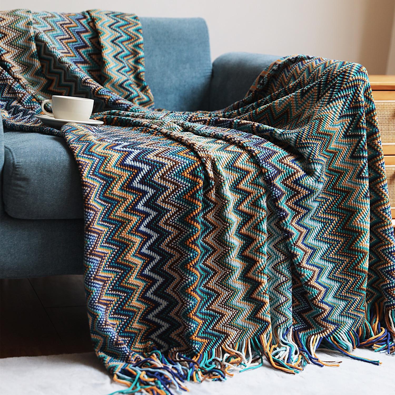 Occual-بطانية بوهيمية مخططة ملونة ، بطانية أريكة عرقية ، مفرش سرير إسكندنافي ، شال شتوي دافئ b135