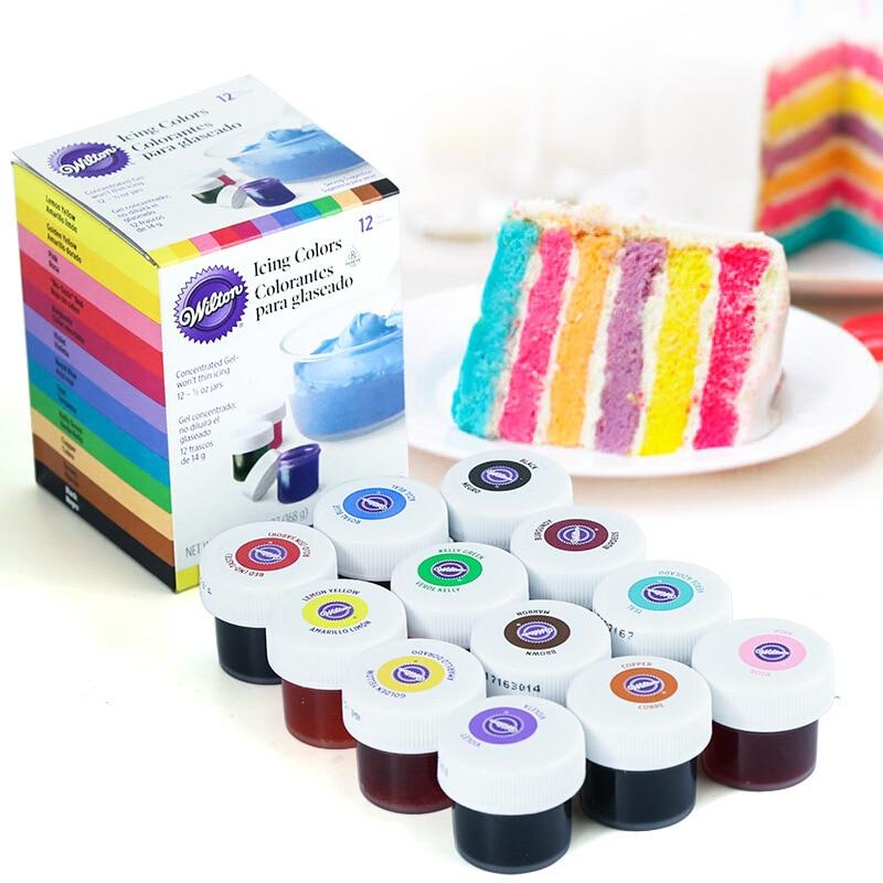 Wilton 12-color Natural Food Coloring Set Gel-based Food Additives Baking Ingredients Fondant Cake Macaron Coloring Tool