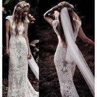 2021 Short Sleeve Lace Sheath Boho Mermaid Wedding Dress V Neck Bohemian  Bride  Real Photo Custom Made