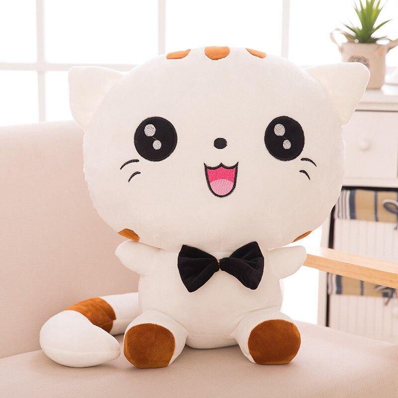 Симпатичная кавайная плюшевая кукла-котенок с бантом, хлопковая мягкая набивная подушка для дивана, подушка для детей, рождественский пода...