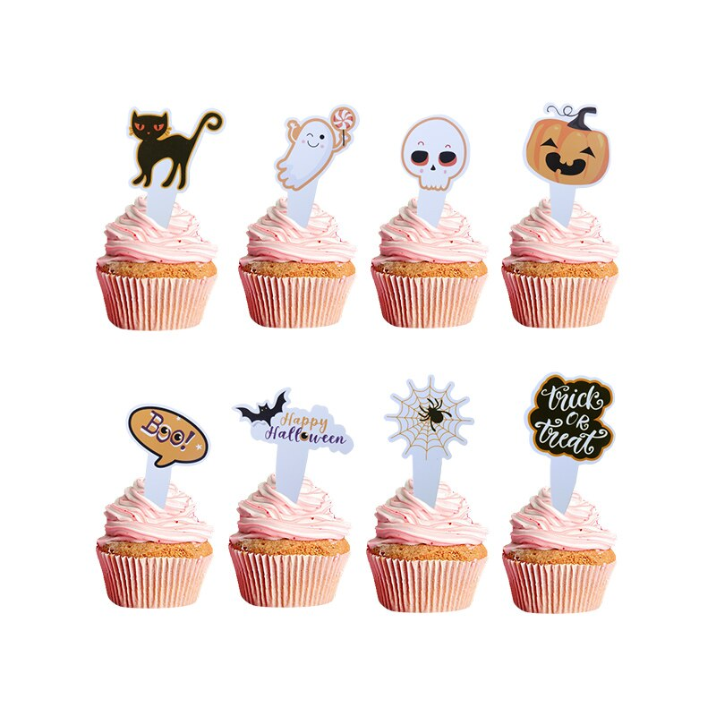 8pcs Cute Halloween Cupcake Toppers Pumpkin Ghost Skull Pattern Topper Flags Happy Party Cake Decor Baking