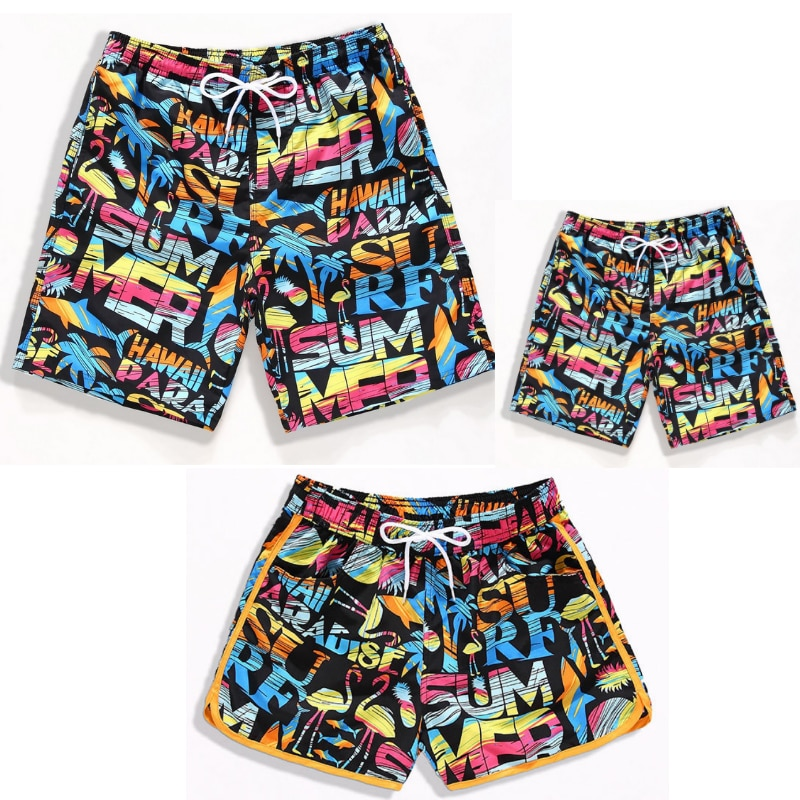 PPXX Family Matching Outfit Summer Boy Shorts Beach Swimming Shorts Fast Dry Boys Shorts Pants Swimwear Trunk Plus Size Teenager