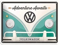 nostalgic art retro tin sign volkswagen bulli t1 adventure awaits vw bus gift idea metal plaque vintage design for decor