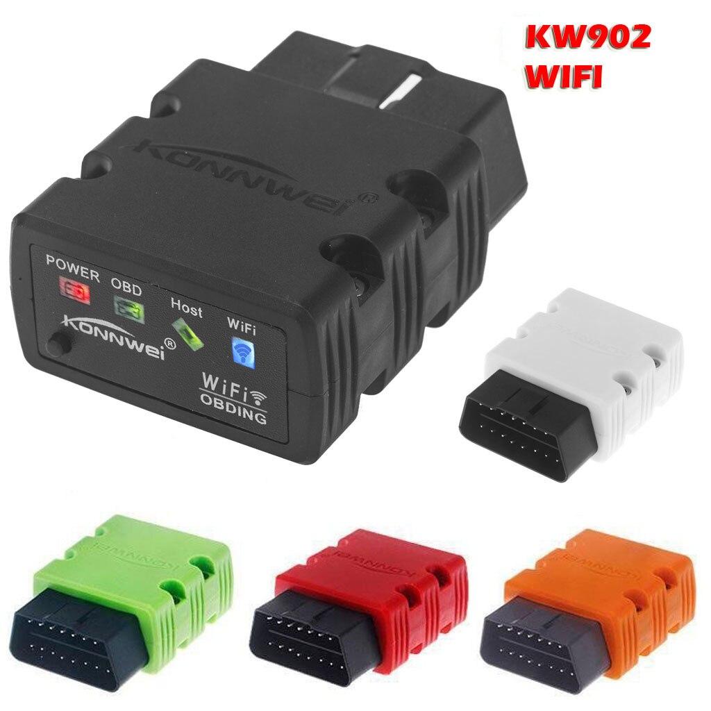 KONNWEI KW902 WiFi ELM327 OBD2 OBDII lector de escáner de diagnóstico para iOS phone4 4s 5 5s ipad Android accesorios de coche