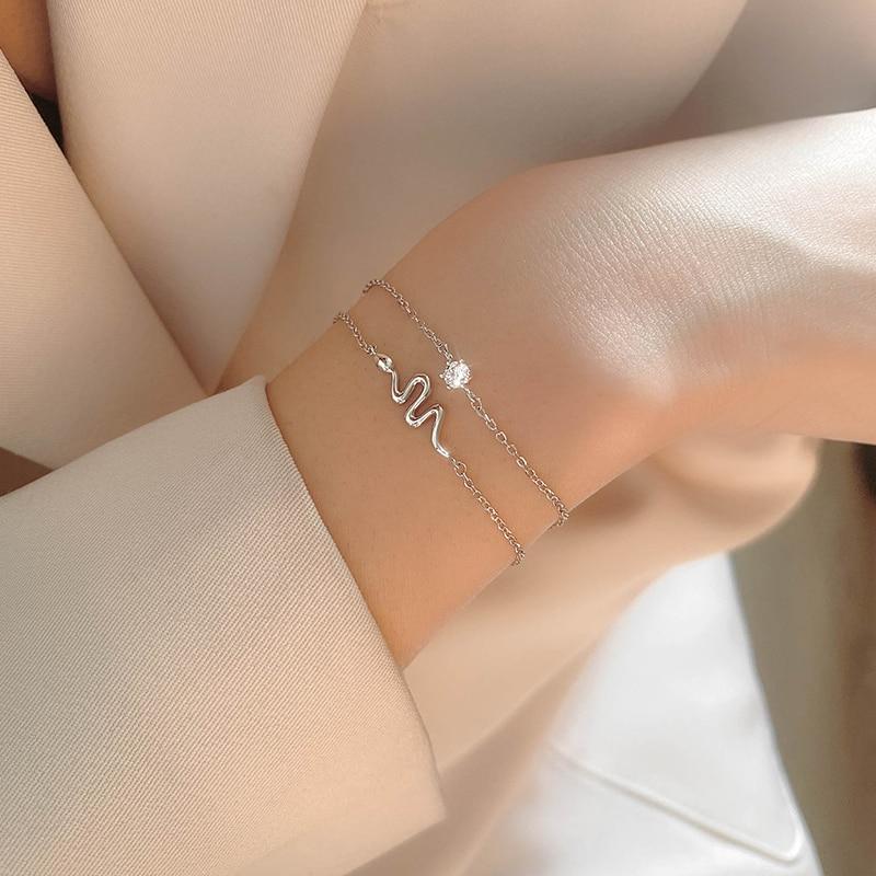 [Miss z] dupla camada cobra pulseira ins especial-interesse design prata esterlina pulseira para meninas feminino novo 2021