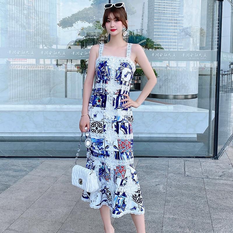DIDABOLE جودة عالية الصيف المرأة الجديدة رائعة أزياء من الدانتل يزين طباعة المرقعة فستان حفلة أنيقة ميدي