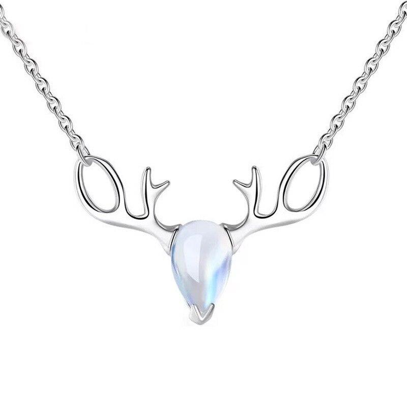 Collar con colgante de piedra lunar para mujer, joyería de plata, regalo...