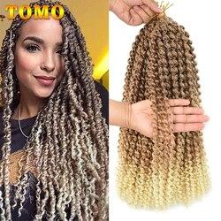 TOMO Lange Ombre Blonde Wasser Welle 14 18 22 zoll Leidenschaft Twist Haar Böhmischen Braid Häkeln Haar Flechten Synthetische Haar erweiterung