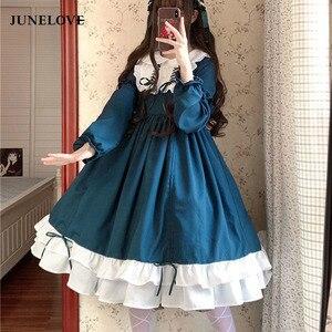 JuneLove Sweet Lolita Dress Vintage Print Lace Angel Bowknot High Waist Victorian Dress Kawaii Girl Gothic Lolita Op Cos Loli