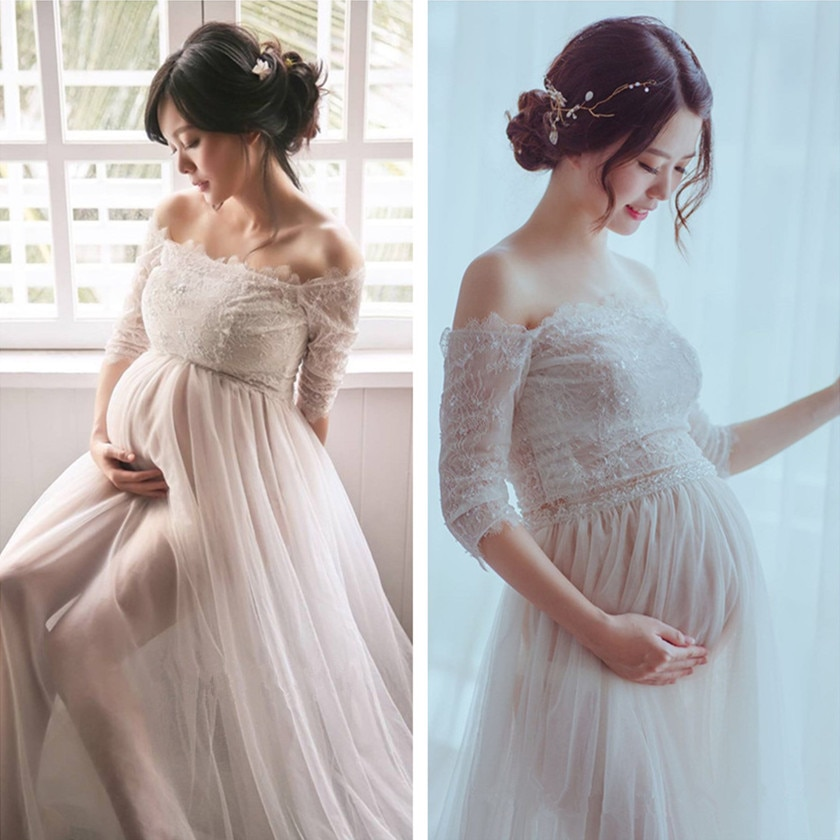 Pregnant women Dress for Photo Shoot Maxi Maternity Gown Shoulderless Lace Fancy Sexy Women Maternity Photography Props