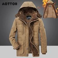 Winter Men Hooded Parkas Fur Linner Thicken Jacket Male Casual Overcoat Hat Detachable Coats Man Jaqueta Masculina Plus Size 4XL