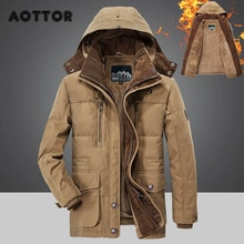 Winter Men Hooded Parkas Fur Linner Thicken Jacket Male Casual Overcoat Hat Detachable Coats Man Jaq