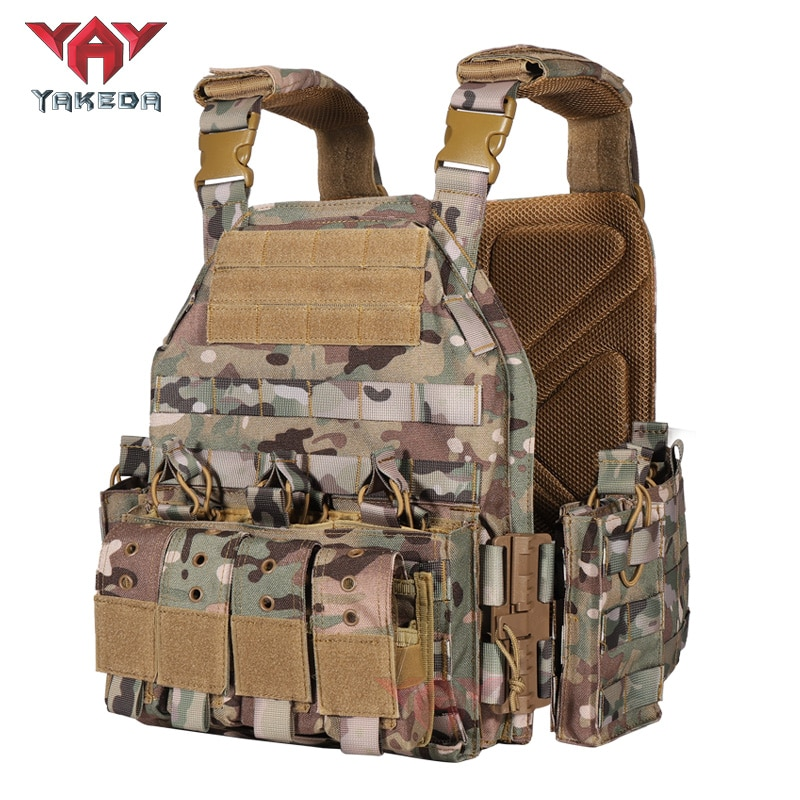 YAKEDA 1000D Nylon Plate Carrier Tactical Vest Outdoor Hunting Protective Adjustable MODULAR Vest fo