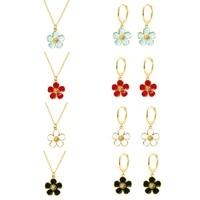 colored enamel flowers pendant dangle necklace drop earrings summe flower collection cute charm necklaces jewelry set for women