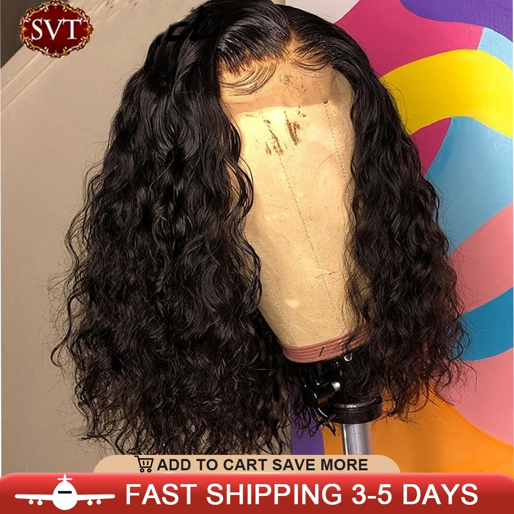 SVT Brazilian Water Wave Short Bob 4x4 Closure Wig Human Hair Lace Wigs Wavy Curly Bob Wigs For Women Pre Plucked Lace Wig