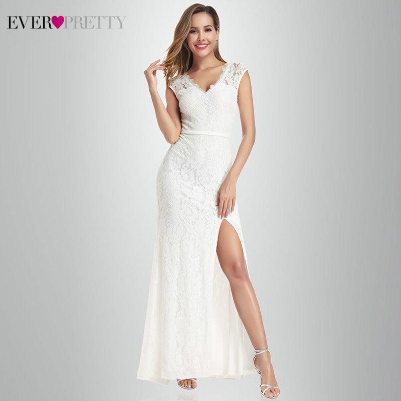 Vestido De Noiva Lace Mermaid Wedding Dresses Ever Pretty EP00933CR A-Line V-Neck Split Sexy Formal Bride Dresses Gelinlik 2020