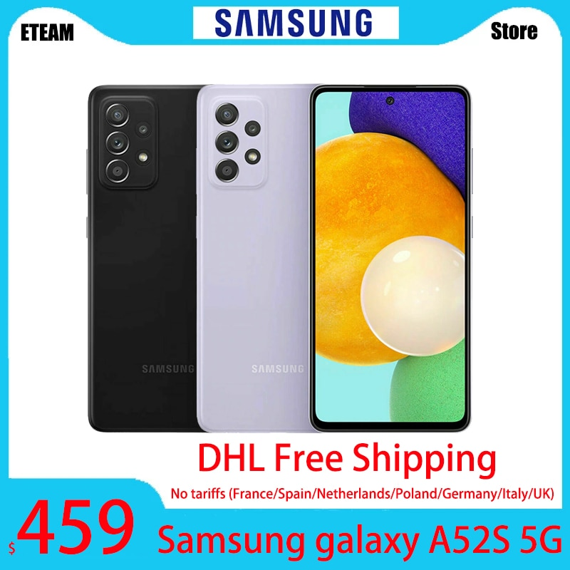 DHL Free Shipping Global Version Samsung galaxy A52S 5G A528B Smartphone Dual Sim 8GB 256GB 25W 4500mAh 64MP NFC IP67