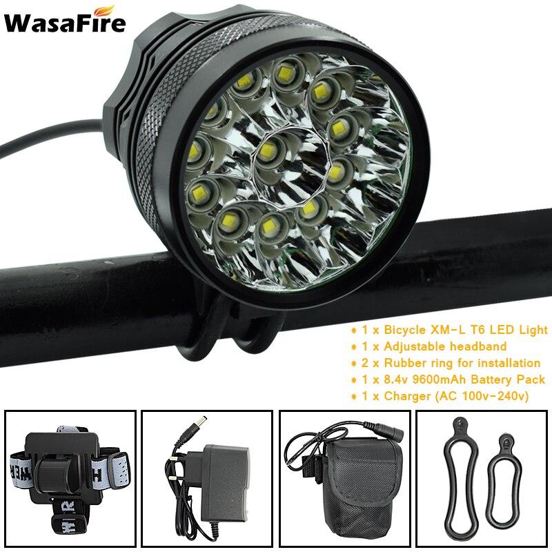 12 * XML-T6 LED luz delantera de la bicicleta 2 en 1 Faro de bicicleta impermeable 20000lm Faro de bicicleta + 9600mAh Paquete de batería + cargador