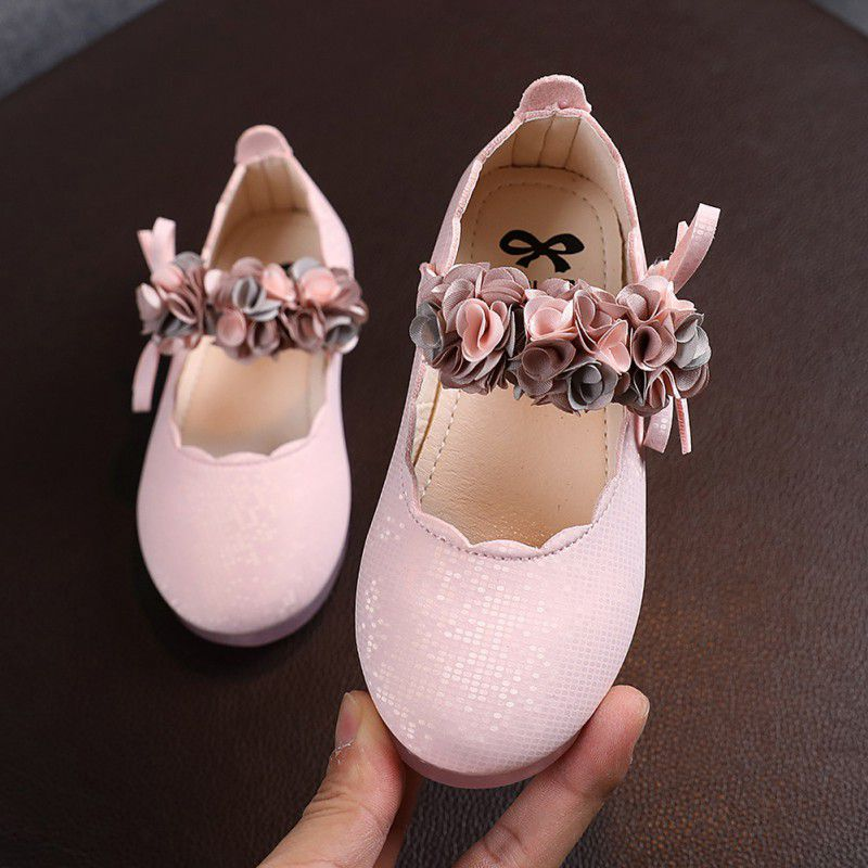 Children's Flats Lace Big Flower Princess Party Performance Shoes Big Student Girl Shoes for Kids Soft Sole Leather Flats