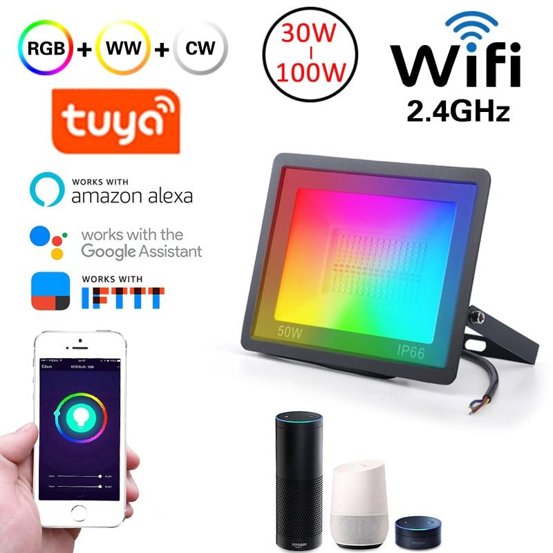LED Smart Floodlights WiFi Smart Home Outdoor Lighting Tuya app Smart Life RGB Wall lamp IP66 50W/100W 220V Spotlight