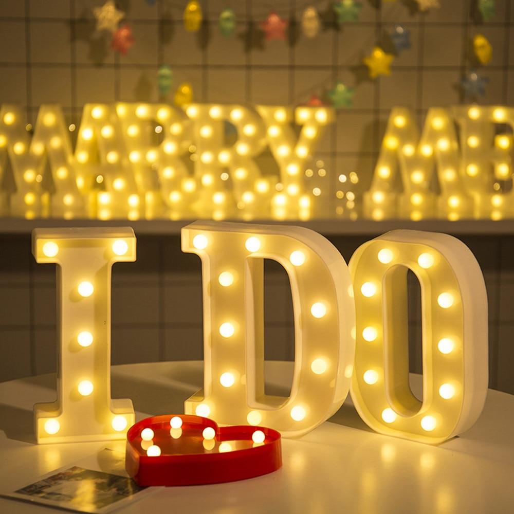 Letra blanca de plástico LED luz de noche luces con diseño de letras del alfabeto para carpa lámpara hogar Club al aire libre interior fiesta boda decoración del hogar #
