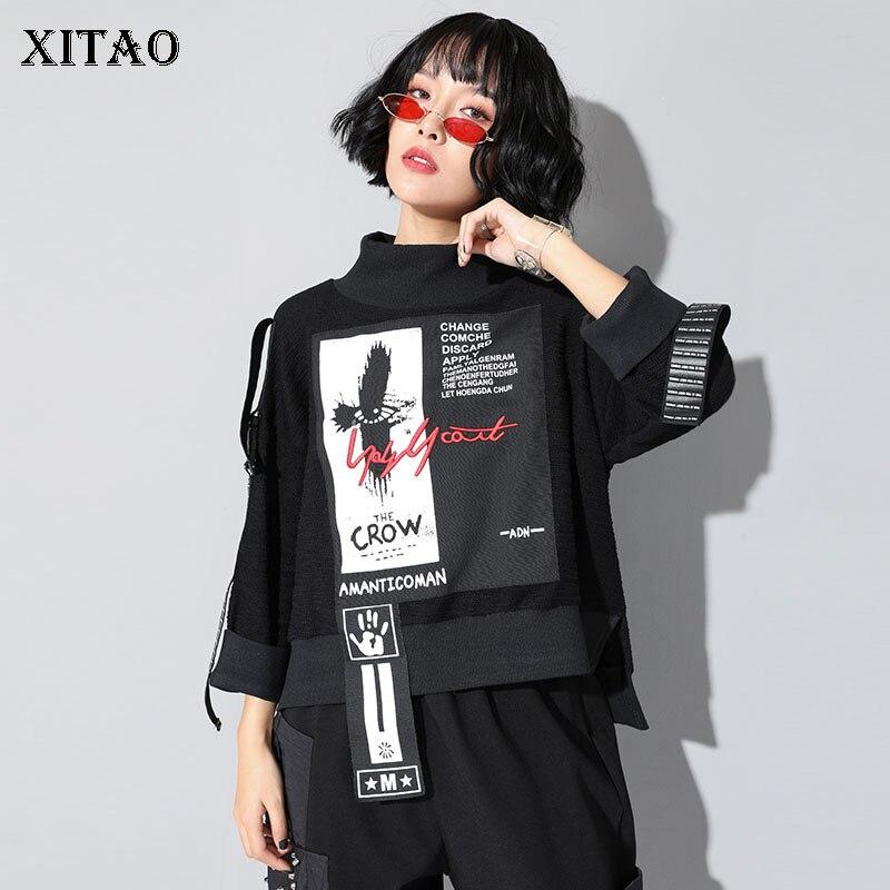 XITAO Print Letter Pattern T-shirt Women Fashion New Pullover Patchwork Turtleneck Wild Joker Straight 2019 Autumn Tee ZLL4239