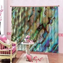 Cortina de mármol de concha personalizada, diseño abstracto de piedra azul verde Natural para sala de estar, cortinas opacas de ventana de dormitorio, conjuntos de decoración