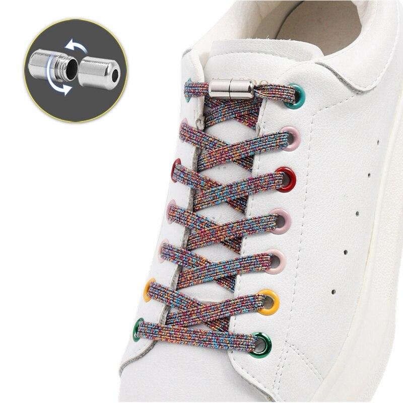 Cordões lisos coloridos para tênis sem laço atacadores elásticos sem laços crianças adulto laço rápido para sapatos faixas de borracha
