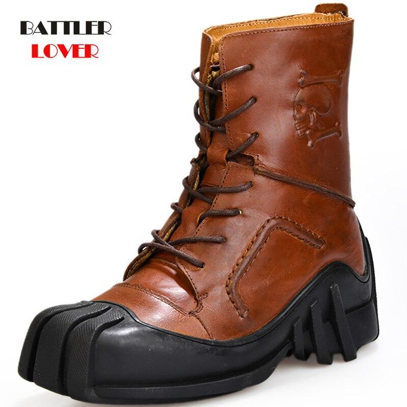 أحذية رجالية من جلد البقر بنمط Steampunk ، أحذية ريترو ، الدنيم ، مساعد عالي ، قاطرة ، دراجة نارية ، مارتن ، أدوات