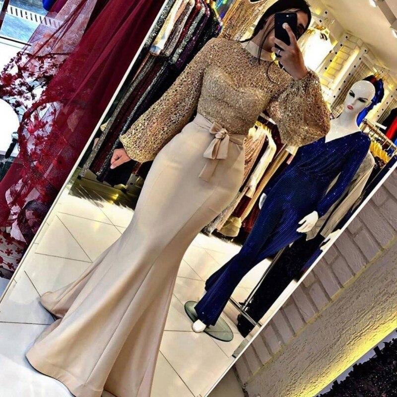 Baile de formatura vestidos de noite 2020 mulher festa noite sereia vestido longo plus size ouro árabe muçulmano vestido