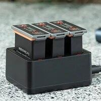 3pcs for dji osmo batterybattery caseintelligent lithium batteries charging hub for dji action sport mini camera accessories