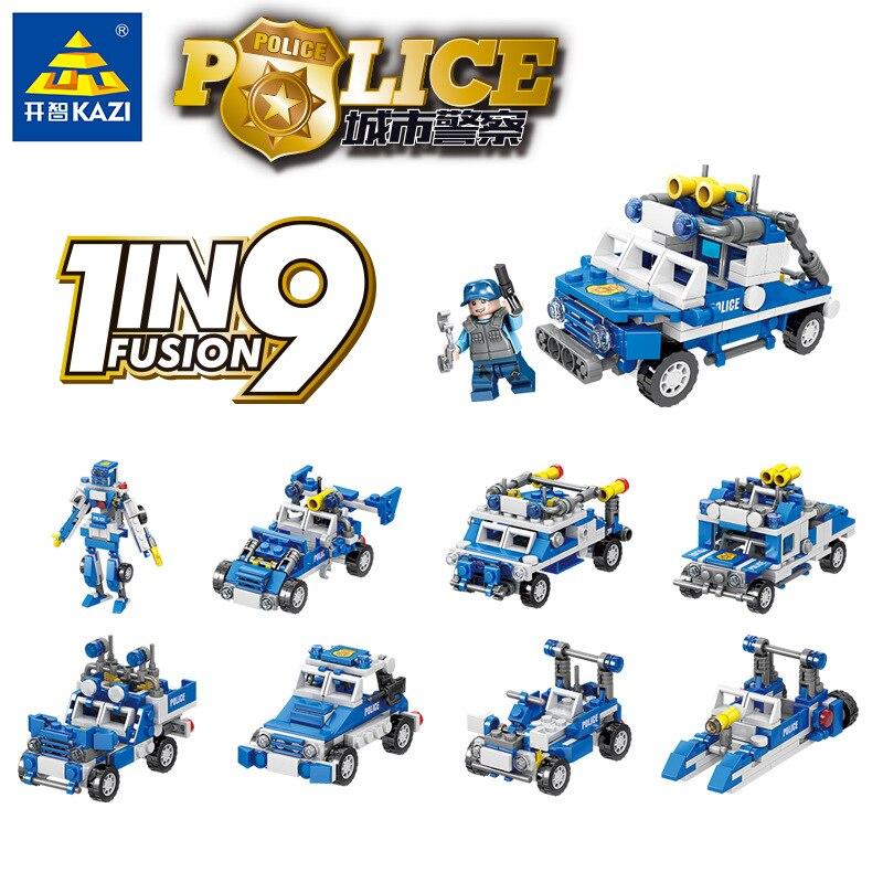 1175 Uds KAZI serie policial edificio bloques, policía comando coche 72 estilo Compatible Leg0ing montado juguete de bloques de construcción, regalo