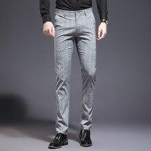 Мужские летние Стрейчевые брюки в клетку, облегающие брюки размера плюс, деловые, рабочие, свадебные костюмы, брюки, мужская одежда