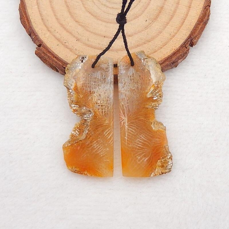 Venta 1 pares de pendientes de gemas de Coral indonesio para mujer 45x17x4mm 9,47g joyería de moda pendientes de las mujeres Accesorios