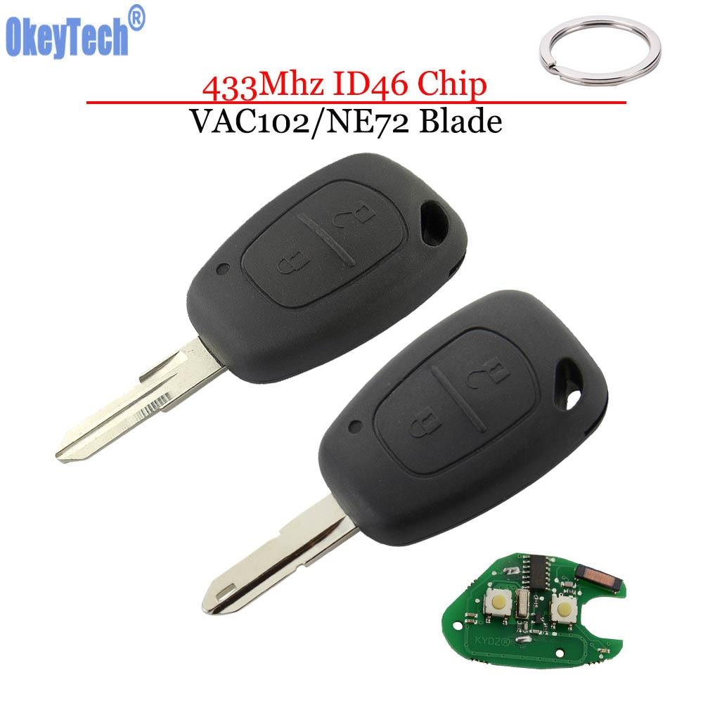 OkeyTech для Renault Duster Megane 2 Clio Captur Автомобильный Дистанционный ключ 433 МГц ID46 PCF7946 чип 2 кнопки резак пустой VAC102/NE72 нож