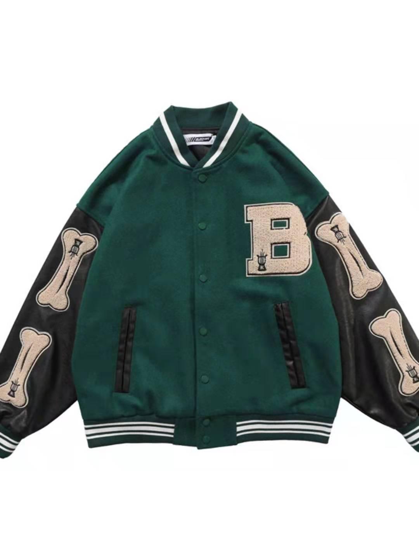 Baseball Jacket Men and Women Color Match Oversize Windbreaker Bomber Jacket Loose Hip Hop Coat