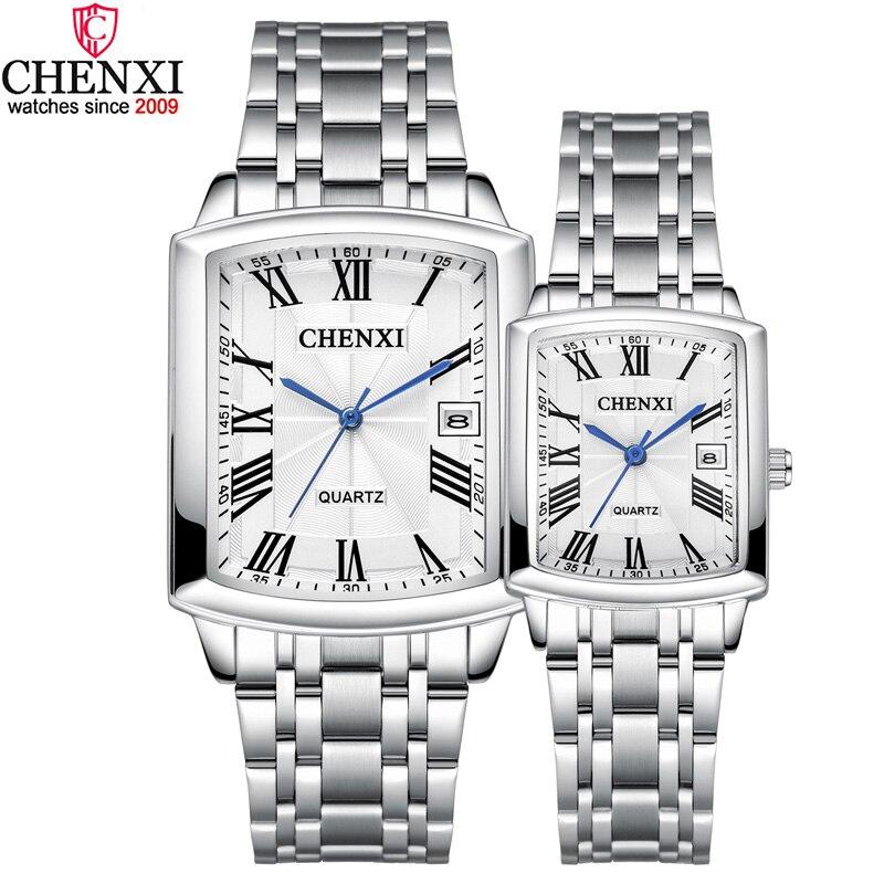 Relojes para amantes de hombres y mujeres, reloj de plata informal para parejas, reloj cuadrado minimalista resistente al agua hasta 3ATM, reloj de moda para hombres y mujeres, reloj de regalo