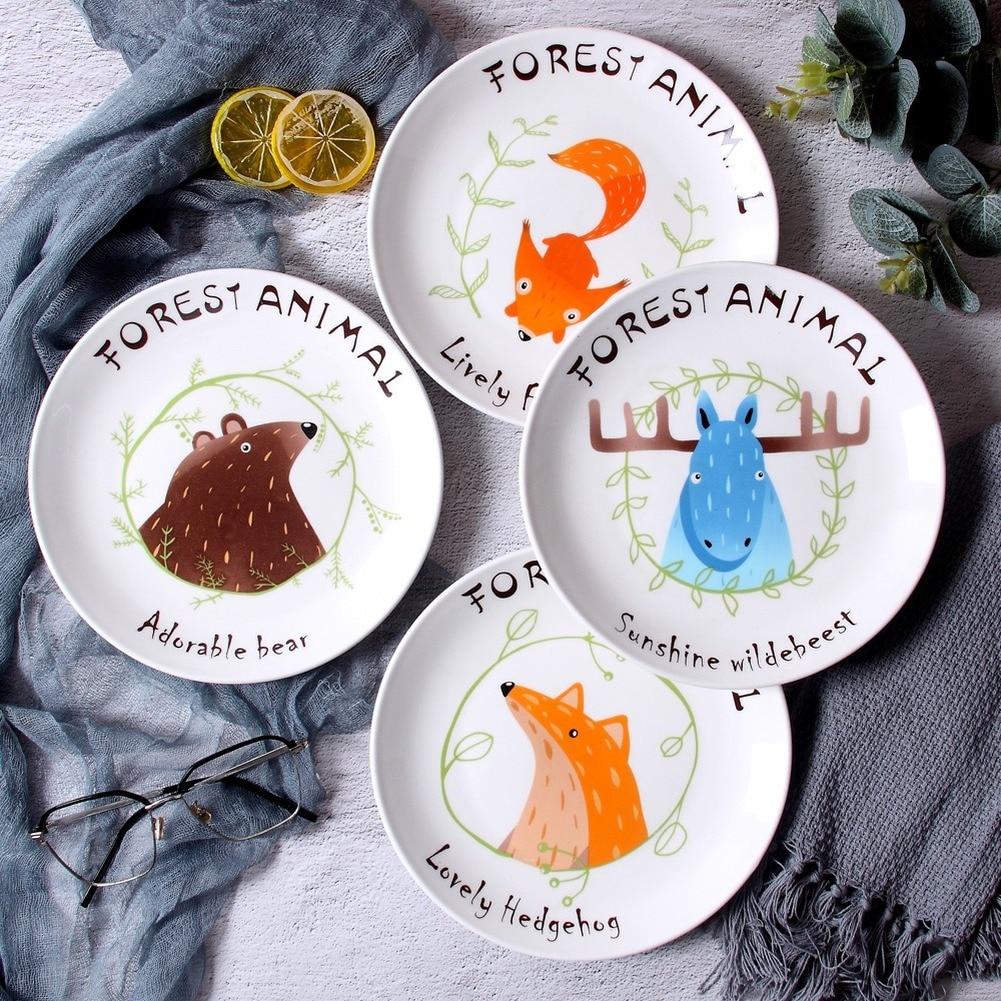 Lovely Cartoon Animals Ceramic Round Plate Dinner Dishe Pasta Steak Dessert Circular Fruit Plates Fine Bone China Kitchenware