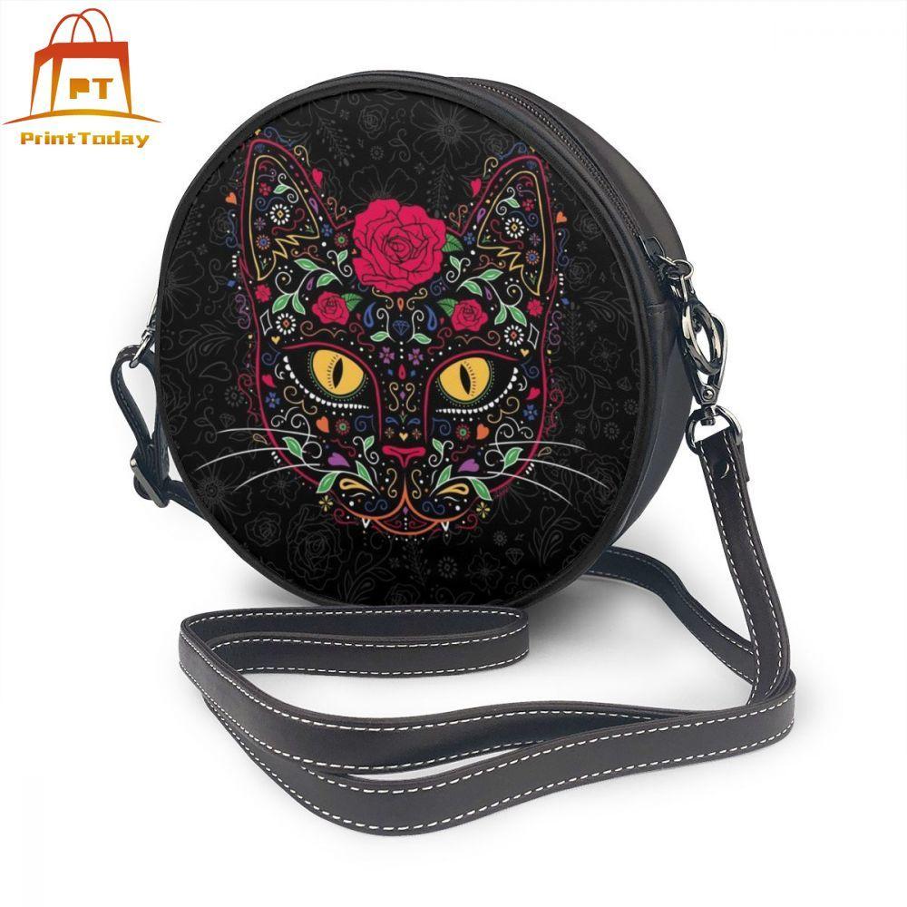 Kitty Cat Shoulder Bag Kitty Cat Leather Bag Slim Woman Women Bags Multifunction Teenage Round Purse
