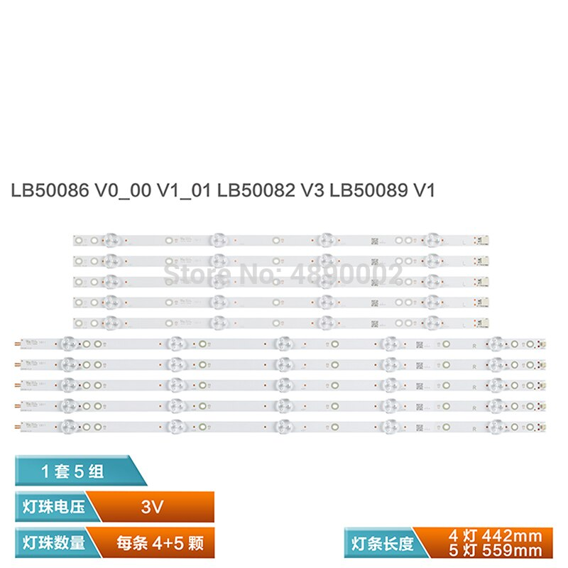 طقم مصابيح LED ، 10 وحدات ، 50PUS6162 50PUS6703 50PUS6753 LB50082 V0_03 V1 LB50089 LB50086 1562
