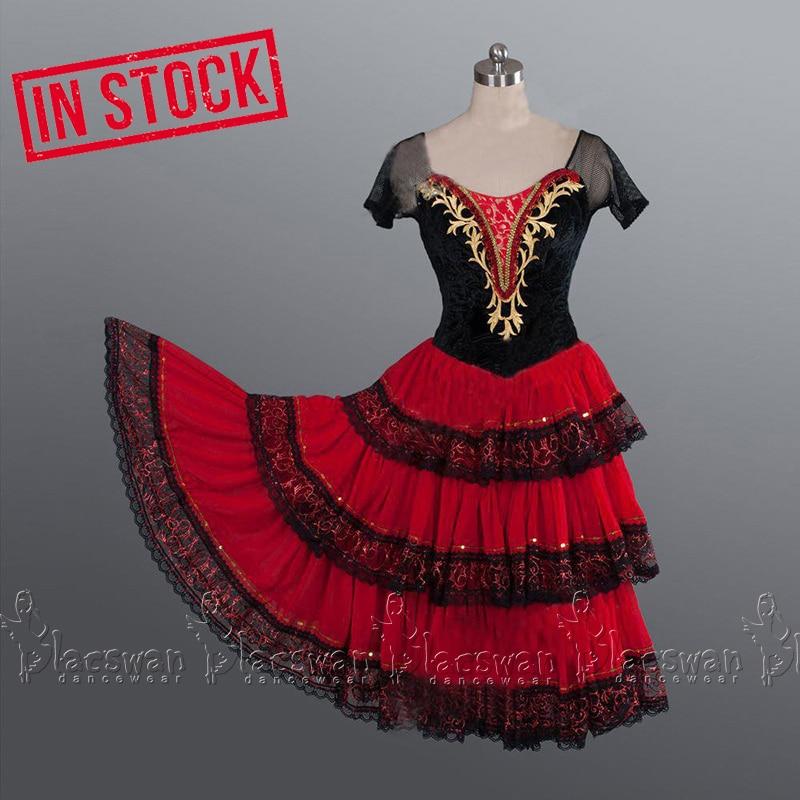 En STOCK rojo Kitri Ballet vestido Gypsy Girl disfraz de danza española Cascanueces Traje de ballet para adultos de la Suite de la boda