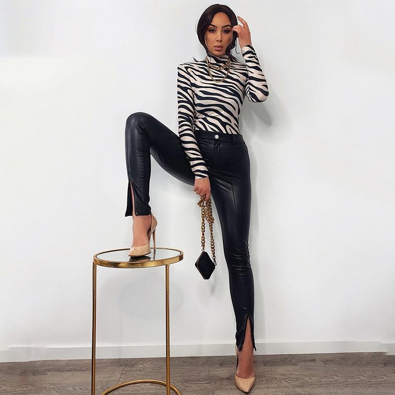 2021 Fashion Women Faux Leather Pant Trouser Casual Zipper Split ladies Straight Pants Black High Waist Skinny PU Leather Pants skull zipper fly skinny faux leather pants