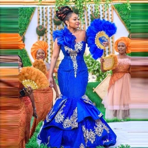أنيقة الأفريقية الملكي الأزرق فساتين لحضور الحفلات الموسيقية 2021 حورية البحر المغرب يزين الترتر جنوب أفريقيا فستان سهرة للنساء حجم كبير