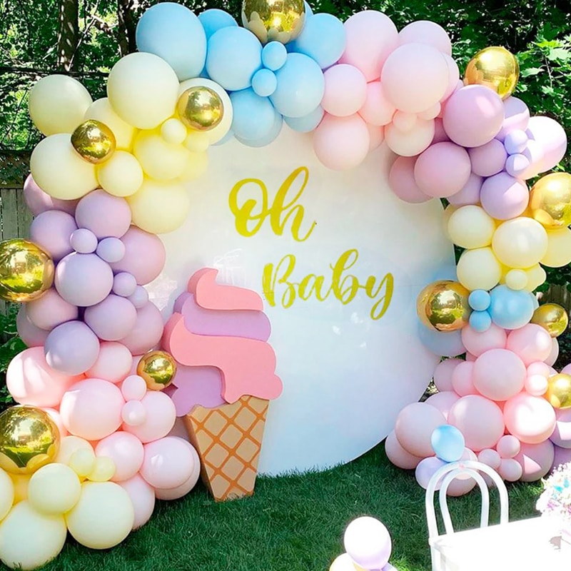 115 stücke Bunte Macaron Luftballons Arch Kit Baby Dusche Pastell Regenbogen Party Organische Ballon Girlande Wand